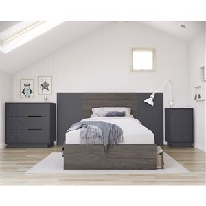 Nexera Metric Twin-Size Bedroom Set - Bark Grey and Charcoal - 5-Piece