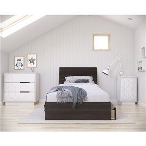 Nexera Odyssey Twin-Size Bedroom Set - Ebony/White - 4-Piece