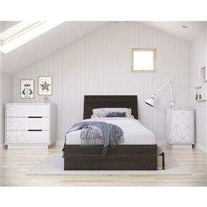Ensemble de chambre à coucher pour petit lit Odyssey de Nexera, ébène/blanc, 4 pièces