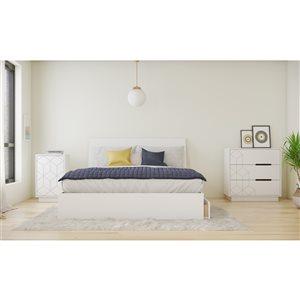 Ensemble de chambre à coucher pour grand lit Ivory de Nexera, blanc, 4 pièces
