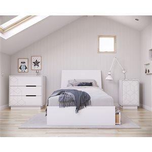 Nexera Ivory Twin-Size Bedroom Set - White - 4-Piece