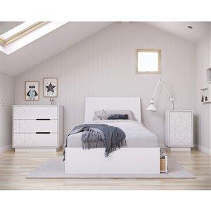 Ensemble de chambre à coucher pour petit lit Ivory de Nexera, blanc, 4 pièces