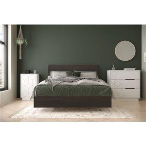 Ensemble de chambre à coucher pour lit à deux places Polygone de Nexera, ébène/blanc, 4 pièces