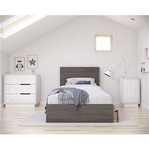Ensemble de chambre à coucher pour petit lit Volt de Nexera, gris écorce/blanc, 4 pièces