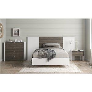 Ensemble de chambre à coucher pour petit lit Soft de Nexera, blanc/gris écorce, 5 pièces