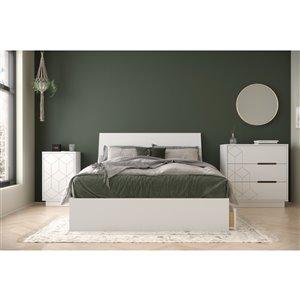 Ensemble de chambre à coucher pour lit à deux places Ivory de Nexera, blanc, 4 pièces