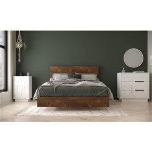 Ensemble de chambre à coucher pour lit à deux places Impact de Nexera, truffe/blanc, 4 pièces