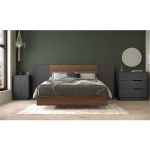 Nexera Vienna Full-Size Bedroom Set - Walnut/Charcoal and Grey - 5-Piece