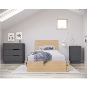Nexera Ballet Twin-Size Bedroom Set - Natural Maple/Charcoal and Grey - 4-Piece