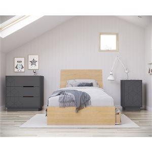 Ensemble de chambre à coucher pour petit lit Ballet de Nexera, érable naturel/gris charbon, 4 pièces