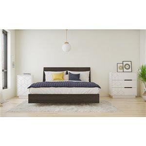 Ensemble de chambre à coucher pour grand lit Polygone de Nexera, ébène/blanc, 4 pièces
