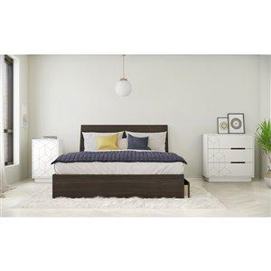 Ensemble de chambre à coucher pour grand lit Odyssey de Nexera, ébène/blanc, 4 pièces