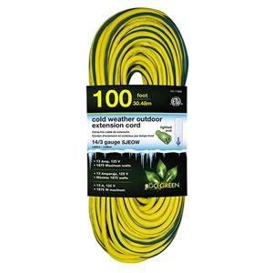 Rallonge électrique lumineuse de 100pi et 14-AWG à 3 broches pour l'extérieur par GoGreen Power, SJEOW, modéré, jaune