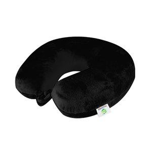 Oreiller cervical rond en velours de GoGreen Power, 12po W x12po L, noir