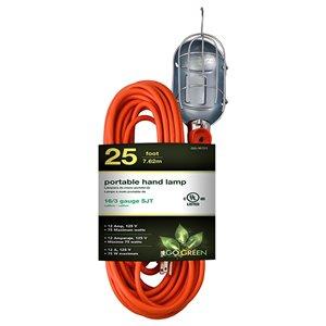 Rallonge électrique de 25pi et 16-AWG à 3 broches pour l'extérieur par GoGreen Power, SJT, modéré, orange
