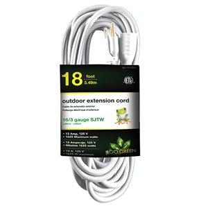 Rallonge électrique de 20pi et 16-AWG à 3 broches pour l'extérieur par GoGreen Power, SJTW, modéré, blanc