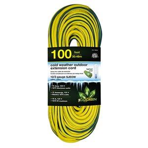 Rallonge électrique lumineuse de 100pi et 12-AWG à 3 broches pour l'extérieur par GoGreen Power, SJEOW, modéré, jaune