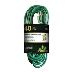 Rallonge électrique de 40pi et 16-AWG à 3 broches pour l'extérieur par GoGreen Power, SJTW, modéré, vert