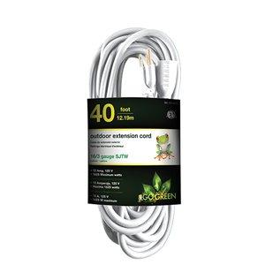 Rallonge électrique de 40pi et 16-AWG à 3 broches pour l'extérieur par GoGreen Power, SJTW, modéré, blanc