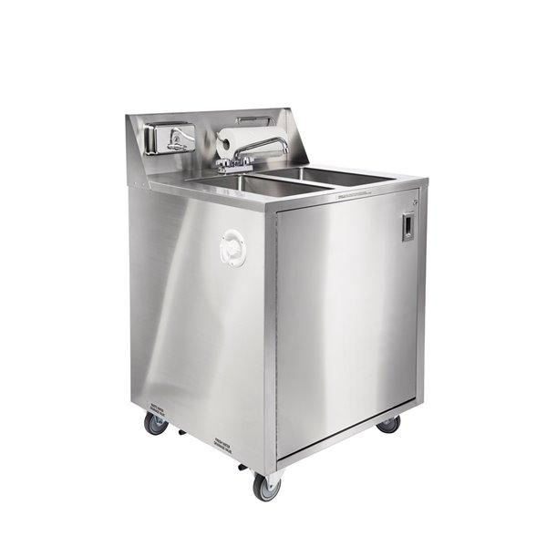 Évier double utilitaire portatif en acier inoxydable d'Ancaster Food Equipment avec drain et robinet, 32 po x 29,25 po