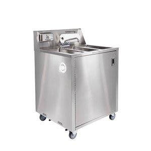 Évier triple utilitaire portatif en acier inoxydable d'Ancaster Food Equipment avec drain et robinet, 32 po x 29,25 po