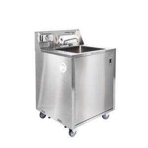 Évier simple utilitaire portatif en acier inoxydable d'Ancaster Food Equipment avec drain et robinet, 32 po x 29,25 po