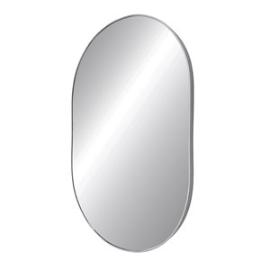 Miroir rond avec cadre Emerson de Hudson Home, 38po x 24po, chrome