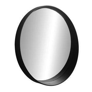 Miroir rond avec cadre Murray de Hudson Home, 31,5po x 31,5po, noir