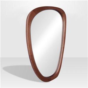 Miroir irrégulier avec cadre Lusso de Hudson Home, 39po x 23,4po, noyer