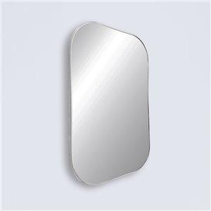 Miroir rectangulaire avec cadre Emerson de Hudson Home, 36po x 24po, chrome