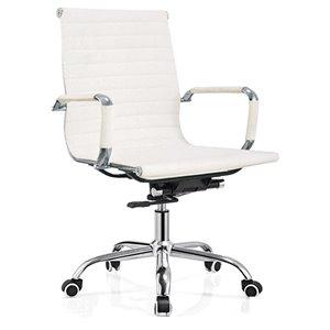 Chaise de bureau contemporaine Arcaro par Hudson Home, lot de 1, blanc