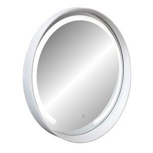 Miroir rond avec cadre Denmark de Hudson Home, 27,5po x 27,5po, blanc
