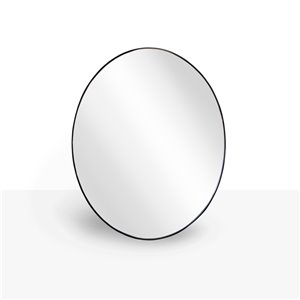 Miroir ovale avec cadre Emerson de Hudson Home, 30po x 24po, noir