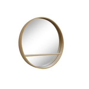 Miroir rond avec cadre Jacob de Hudson Home, 32po x 32po, bois naturel