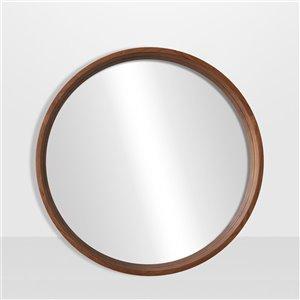 Miroir rond avec cadre Lusso de Hudson Home, 28po x 28po, érable