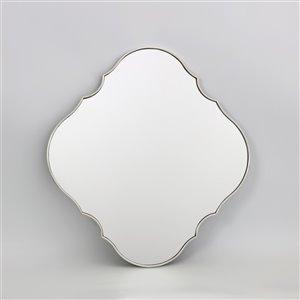 Miroir ovale avec cadre Parisian de Hudson Home, 32po x 30po, argent