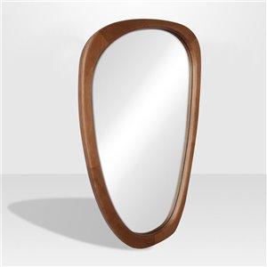 Miroir irrégulier avec cadre Lusso de Hudson Home, 39po x 23,4po, érable