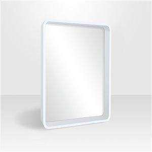 Miroir rectangulaire avec cadre Betty de Hudson Home, 31po x 25po, blanc satiné