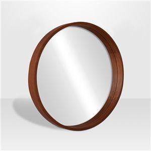 Miroir rond avec cadre Lusso de Hudson Home, 28po x 28po, noyer