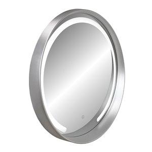Miroir rond avec cadre Denmark de Hudson Home, 27,5po x 27,5po, argent