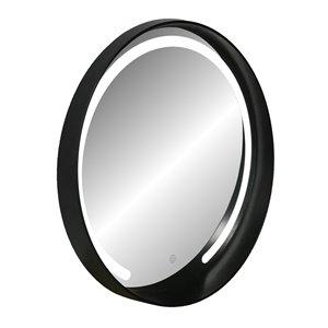 Miroir rond avec cadre Denmark de Hudson Home, 27,5po x 27,5po, noir