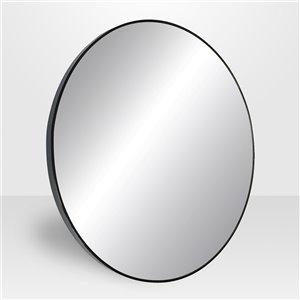 Miroir rond avec cadre Emerson de Hudson Home, 27,5po x 27,5po, noir