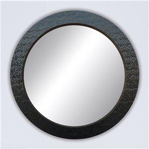 Miroir rond avec cadre Octavio de Hudson Home, 32po x 32po, noir
