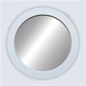 Miroir rond avec cadre Octavio de Hudson Home, 32po x 32po, blanc
