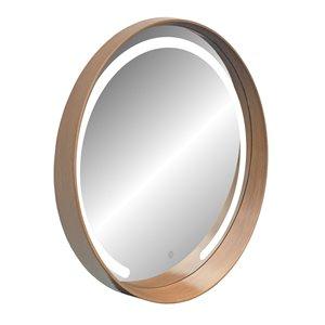 Miroir rond avec cadre Denmark de Hudson Home, 27,5po x 27,5po, poire