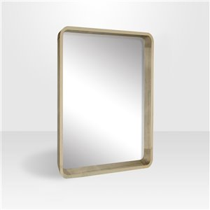 Miroir rectangulaire avec cadre Betty de Hudson Home, 31po x 25po, bois naturel