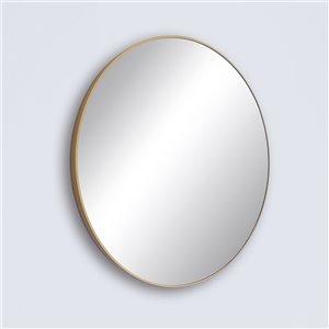 Miroir rond avec cadre Emerson de Hudson Home, 31,5po x 31,5po, or