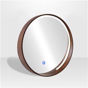 Miroir rond avec cadre Denmark de Hudson Home, 32po x 32po, poire