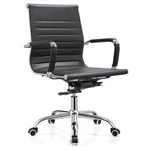 Chaise de bureau contemporaine Arcaro par Hudson Home, lot de 1, noir