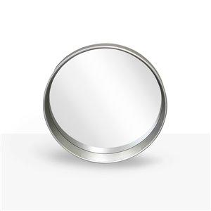 Miroir rond avec cadre Murray de Hudson Home, 27,5po x 27,5po, argent